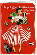 Vintage Festivus Shopping Card