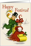 Sledding Couple Happy Festivus Card