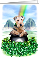 Airedale Terrier Dog Pot of Gold card