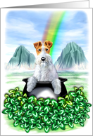 Wire Fox Terrier Dog Pot of Gold card