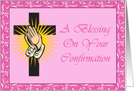 Pink Confirmation Blessing Card