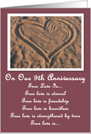 Sand Heart Our 9th Anniversary Card