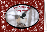 Chickadee Great Nephew Christmas Card