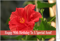 Red Floral 90th Birthday Card For Aunt card