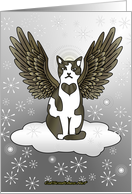 Winter Angel Cat - Blank Card