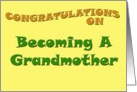 Congratulations on Becoming a Grandmother card