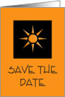 Black & Orange Sun Save The Date card