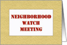 Neighborhood Watch Meeting Invitation Card