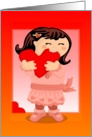 NIbbling Heart Girl Valentine card