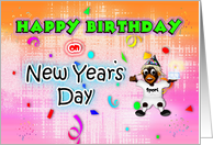 Happy Birthday /New Years Day - sport monkey cake celebrating card