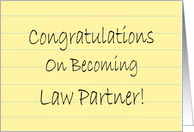 Congratulations On Becoming Law Partner - yellow legal pad card