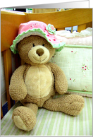 Teddy Bear in Crib card