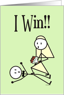 I Win Wedding Announcement Card