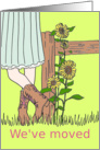 Sunflower Moving Announcement with cowgirl and wood fence Card
