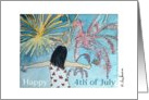 Happy 4th of July girl with American flag watching fireworks card
