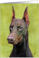 Red Doberman Dog Painting card