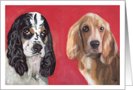 Cocker Spaniel Dogs Painting Happy Birthday card