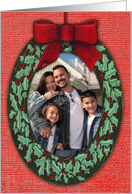Your Photo Here Christmas Ornament Wreath Painting card