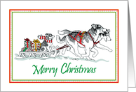Merry Christmas, Siberian Husky Sled Dogs With Presents And Puppy card
