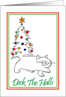 Christmas Cat With Decorated Christmas Tree Tail card