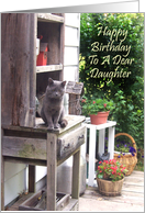 Happy Birthday Daughter With Big Gray Cat card