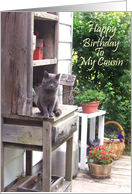 Happy Birthday Cousin With Big Gray Cat card