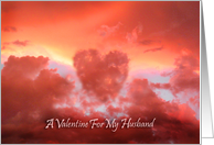 A Valentine For My Husband, Heart-shaped Cloud in Sunset card