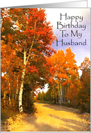 Happy Birthday Husband, Red and Gold Aspens And Country Road card