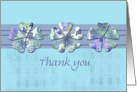Thank You Volunteer Blue Flower Lace Stripe card