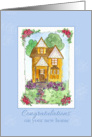 New Home Congratulations Victorian Cottage Watercolor Painting card