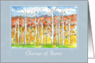 Change of Name Announcement Mountain Fall Trees Watercolor card