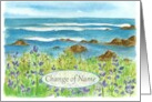 Change of Name Announcement Ocean Coastline Watercolor card