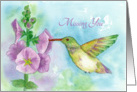 Missing You Hummingbird Flowers Watercolor Fine Art card