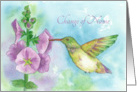 Change of Name Hummingbird Flowers Watercolor Fine Art card