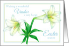 Happy Easter Vendor White Lily Flower Art card