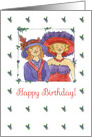 Happy Birthday Ladies In Red Hats Watercolor Art card