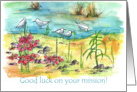 Good Luck With Your Mission Seagulls Watercolor Landscape card