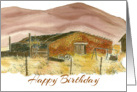 Happy Birthday Desert Mountains Watercolor Landscape card