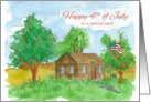 Happy 4th of July Aunt Flag Painting Watercolor Landscape card