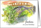 Custom Name Happy Birthday Bridge Water Drawing card