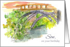 Happy Birthday Son Bridge Water Outdoor Landscape Art card