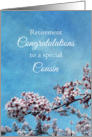 Cousin Retirement Congratulations Cherry Blossom Tree card