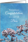 Boss Retirement Congratulations Cherry Blossom Tree card