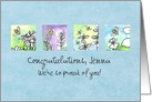 Custom Congratulations Honey Bees Watercolor Plant Illustrations card