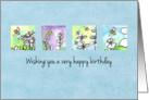 Happy Birthday Honey Bees Watercolor Plant Illustrations card