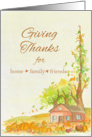 Giving Thanks For Home Family Friends Pumpkins Watercolor Art card