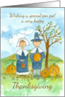 Happy Thanksgiving Pen Pal Pilgrims Pumpkins Country Landscape card