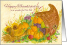 Happy Thanksgiving Pen Pal Cornucopia Watercolor Art card