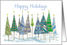 Happy Holidays Patterned Trees Drawing Snow Watercolor Art card