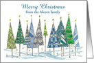 Merry Christmas Custom Name Card Trees Watercolor Art card